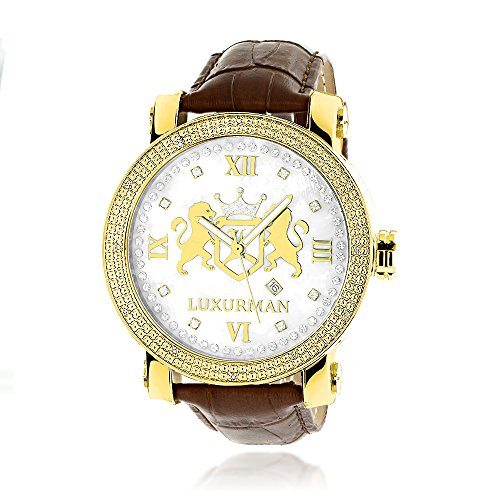 Large 18k Yellow Gold Plated Diamond Watch For Men by LUXURMAN Phantom White MOP with Leather Band 0.12CT