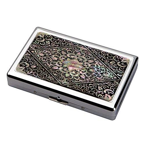Etui Compact Elegant Design de Nacre ARABESQUE Intérieur Métallique pour 16 Cigarettes 100s/King Size ou Porte Billet 5/10 euros