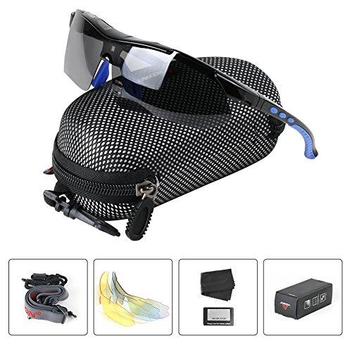 Polarisierter Sport Sonnenbrille für Herren und Damen Fahren Golf Laufen Radsport Superleichtes Rahmen 5 Farben Wechselbar (Blau)
