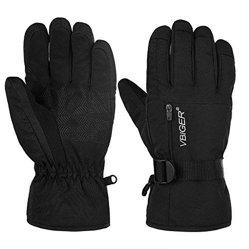 Vbiger Winterhandschuhe Skihandschuhe Fahrradhandschuhe Motorrad Handschuhe Outdoor Handschuhe Winter Handschuhe Skifahren Handschuhe Sport Handschuhe Snowboard Handschuhe, Schwarz-2, M