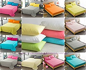 Comfort-Style EASY CARE Non Iron Plain Bed Sheets Set (Flat Bed Sheet + Fitted Bed Sheet + Pair of Pillowcases) 20 Colors & UK Standard Sizes