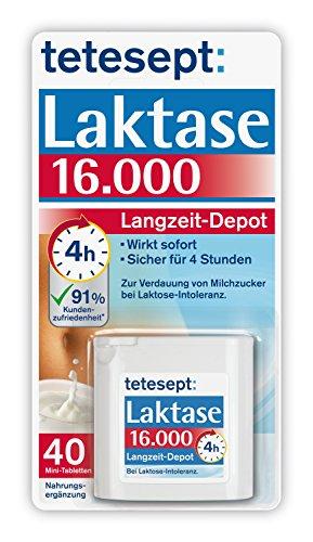 tetesept Laktase 16.000 Langzeit-Depot – Mit 4 Stunden Langzeit-Depot - kontinuierlicher Laktoseabbau in Magen & Darm - wirkt sofort – 1 Dose à 40 Stück [Nahrungsergänzungsmittel]
