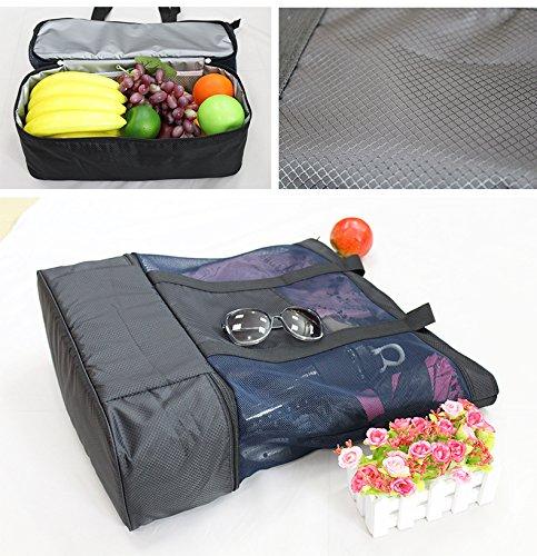 Bigforest grande borsa da spiaggia con chiusura a cerniera superiore e mesh isolato picnic Cooler bag, Green Black