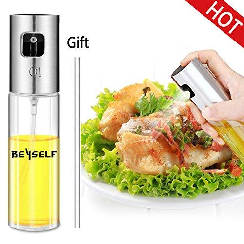BeYself Öl Sprüher Flasche, Ölsprüher Oil Sprayer Olivenöl Sprayer Glas Öl Essig Spender Flasche Küche Werkzeug für Pasta / BBQ / Salate / Kochen / Backen / Braten / Grillen (100ml) (Refill Spray)