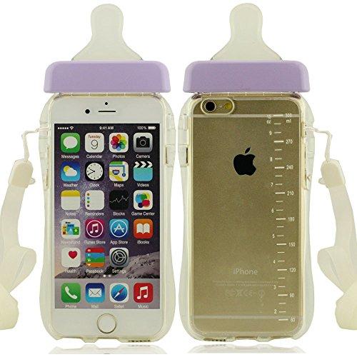 Apple iPhone 7 4.7 inch Coque Housse de protection Case, Mignon Biberon Forme Serie Très Mince Poids Léger Transparent Clair Doux Silicone Plastique pourpre