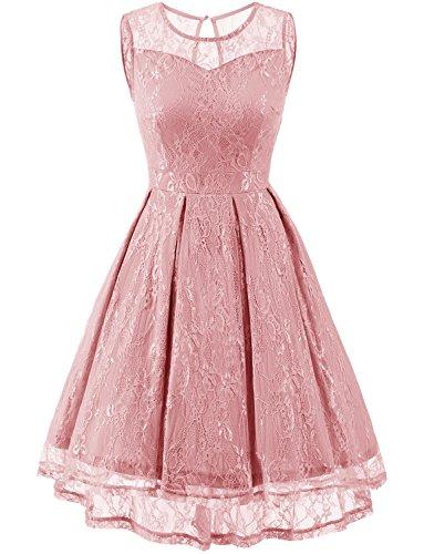 Gardenwed Damen Kleid Retro Ärmellos Kurz Brautjungfern Kleid Spitzenkleid Abendkleider Cocktailkleid Partykleid Blush XS