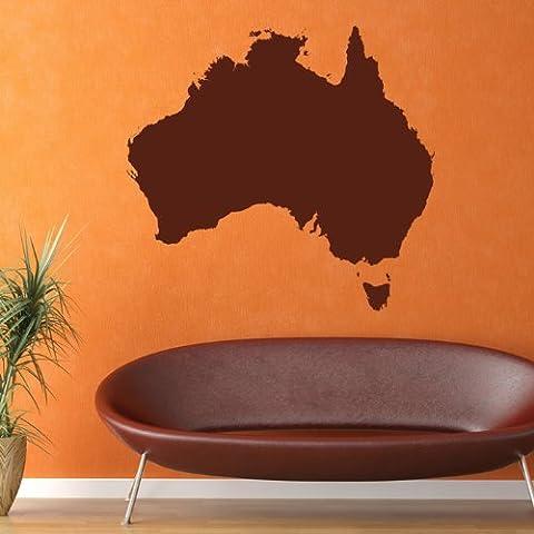 Australia, Contorno Wall Sticker Mappa Adesivo Art disponibile in 5 dimensioni e 25 colori Extra-Small Nocciola