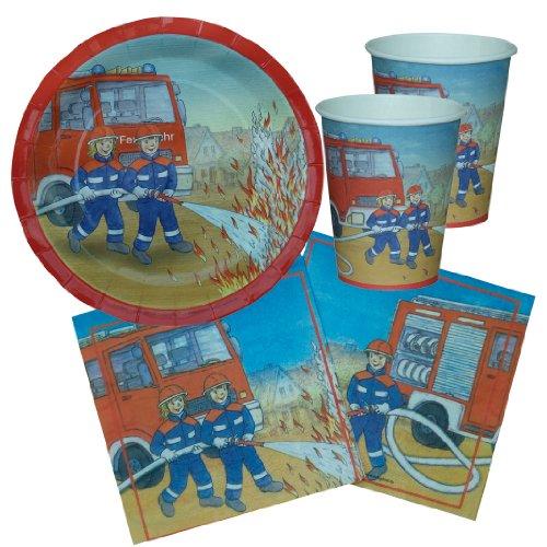 Partyset Feuerwehr, 44-tlg., Kindergeburtstag mit 12 Jungen; 12 Papp-Teller, 12 Papp-Bechern, 20 Servietten Feuerwehrmotiv Kinderparty Firefighter