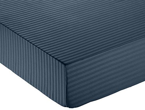 AmazonBasics - Sábana bajera deluxe de microfibra, a rayas, 135 x 190...