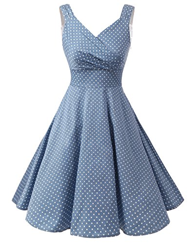 Bridesmay Damen Vintage 50S Retro Partykleid Rockabilly Knielang Cocktailkleid Light Blue Small White Dot 4XL