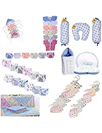 Fareto Baby's 6 in 1 Combo of Daily Needs Items in Single Packet (Multicolour, 0-6 Months) -Set of 45 Items