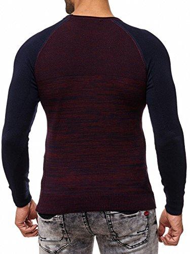 Herren Pullover Strick 2 Farb Muster Hell Dunkel Eyecatcher Auffällig RN13315 Blau