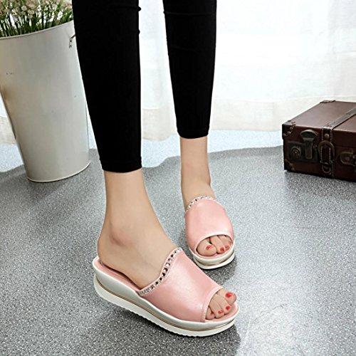 Hunpta Sommerlichen Komfort Sandalen Hausschuhe Plattform Sandalen Schuhe Wedges Damenschuhe Rosa