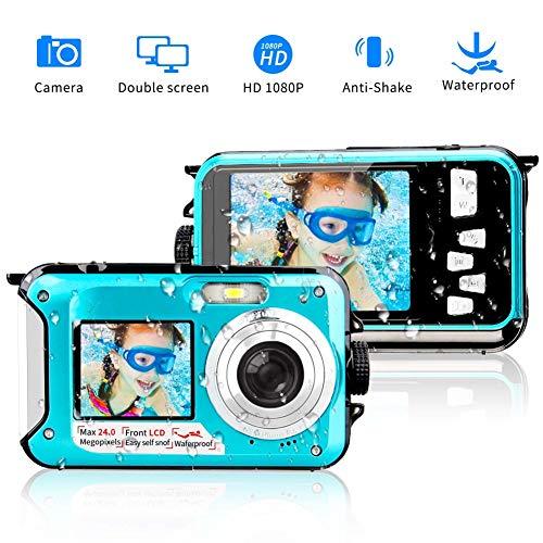 BILLY'S HOME Wasserdichte Kamera, Full HD 1080P Underwater Digital Camera 24.0MP Waterproof Camera Selfie Dual Screen Point und Shoot Underwater Digital Camera,Blue Digital Point And Shoot Film Camera