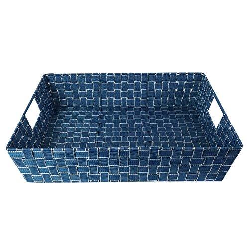 XXL Aufbewahrungskorb Kiste Schrankkorb Dekokorb Tablett Regalkorb Badezimmerkorb 60x40x12,5cm Blau/Weiß