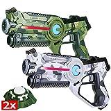 Light Battle Laserpistolen für Kinder: 2x Active Lasertag Pistole (1x camo grün + 1x camo weiß) + 2x Active Ziele   LBAP22257
