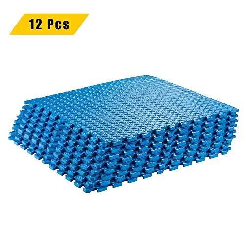 TIKAHOME 12 Stück Schutzmatten 60x60x1cm Fitness Puzzlematten Bodenschutzmatten Unterlegmatten Fitnessmatten Sportmatten Yoga Matten Spielmatten mit Randstücke für Fitnessraum Garage Keller Blau
