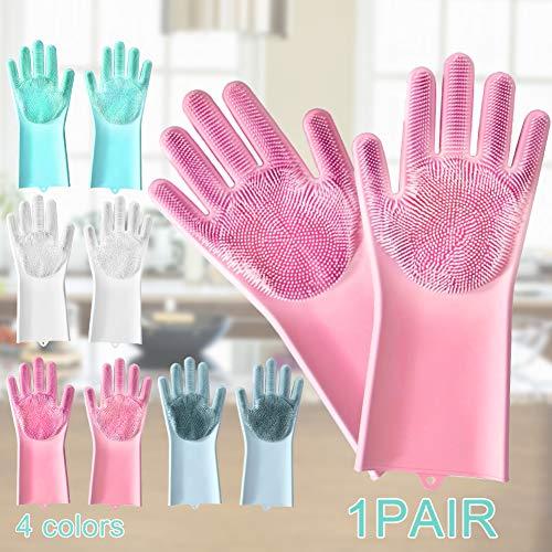 seawood Silikon Geschirrhandschuhe Pinsel Wäscher Küche Badezimmer Auto Reinigungswerkzeug Hohe Reinigungseffizienz Handschuhe Weiß (Wäscher Kommerzielle)