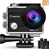 "Crosstour 4K Wifi Action Camera Ultra HD Underwater Sport Cam 98ft 2"" LCD 170 Wide-angle with 2 Rechargeable 1050mAh Batteries and 20 Accessory Kits for Cycling Swimming Snorkeling"