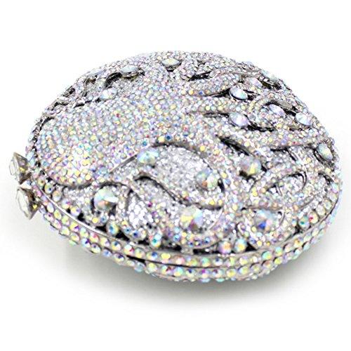 Damen Clutch Abendtasche Handtasche Geldbörse Luxus Funkelt Glitzer Schick Krake Tasche mit wechselbare Trageketten von Santimon(5 Kolorit) Weiß
