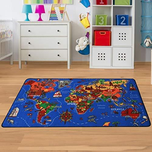 Kinderteppich Weltkarte - Spielteppich mit Welt & Meer Größe 130 x 200 cm