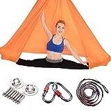 PIALFA Aerial Yoga Hängematten, Premium Silk Yoga Schaukel für Antigravity Yoga, Inversionsübungen, Verbesserte Flexibilität & Kernfestigkeit - Montagezubehör Inklusive (Orange)