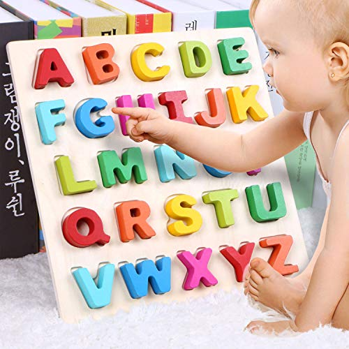Wondertoys Wooden Alphabet Puzzle Board for 1 2 3 Years Old Girls and Boys ABC Chunky Puzzles Educational Toys