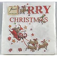 """Tovaglioli carta """"Merry Christmas"""" Babbo Natale con slitta e renne. 20pz cm.33x33"""