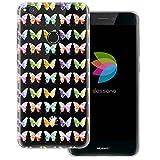 mobilefox® dessana Aquarell Tier Pattern Transparente Silikon TPU Schutzhülle 0,7mm dünne Handy Tasche Soft Case für Huawei P8 Lite (2017) Schmetterling