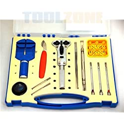Toolzone 28Pc Watch Repair Set, Strap Adjustment, Battery Replacement Back Removal Kit