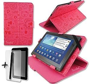 """Rose Mignon PU cuir Étui-support housse en pour MPMAN 7"""" pouce inch tablette PC + Protège-écran + Stylet"""