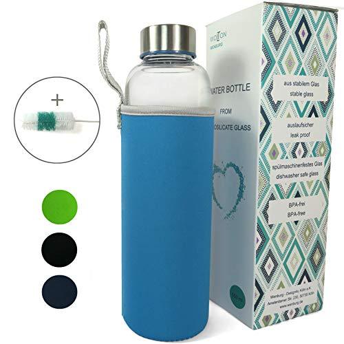 Wenburg Trinkflasche/Glasflasche mit Edelstahl Deckel Wolton 550 MLL / 750 ml Neopren Hülle. Sportflasche/Wasserflasche aus Glas. Für Unterwegs (blau, 0,55 l) (750 Ml Glasflaschen)