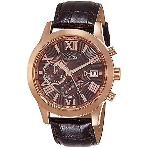 Guess hombre-reloj cronógrafo de cuarzo cuero W0669G1