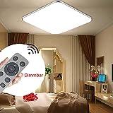 SZYSD LED Panel Deckenleuchte Badleuchte Deckenlampe Schlafzimmer Wohnzimmer Dimmbar Flurleuchte+Fernbedienung (Silber-36W Dimmbar)
