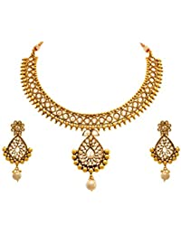 [Sponsored Products]JFL - Traditional Ethnic One Gram Gold Plated Diamond Designer Necklace Set With Earring For Women And Girls.
