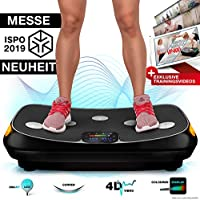 Messe-Neuheit 2019! 4D Vibrationsplatte VP400 im Curved Design + Trainings-Videos, Color Touch Display, Riesen Fläche, Smart LED Technologie + Remote-Watch, Trainingsbänder, Übungsposter & Schutzmatte