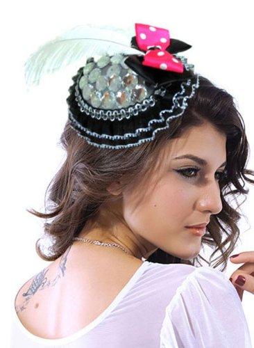 Pinkyee Hat Damen Aimee Mini Top Hat Schwarz One Size Gr. Einheitsgröße, Schwarz - (Schwarz Glitter Top Hat Mini)