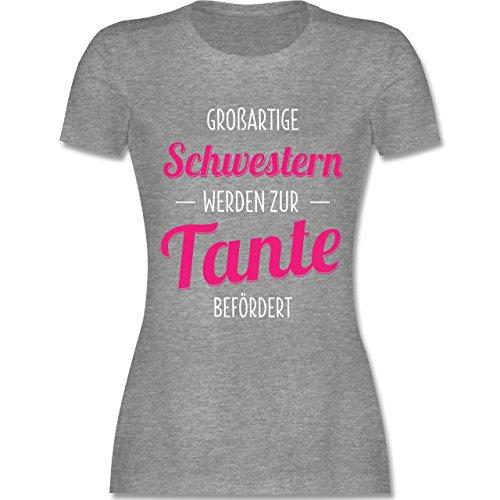 Shirtracer Schwester & Tante - Großartige Schwestern Werden zur Tante Befördert - Damen T-Shirt Rundhals Grau Meliert