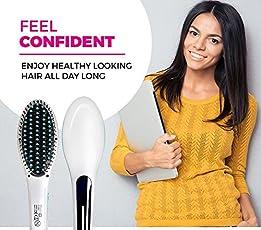 Shag Stylish Fast Hair Straightener Brush with Temperature LCD