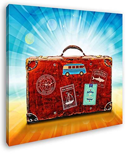 deyoli Reisekoffer aus Leder Format: 70x70 Effekt: Zeichnung als Leinwandbild, Motiv fertig gerahmt auf Echtholzrahmen, Hochwertiger Digitaldruck mit Rahmen, Kein Poster oder Plakat