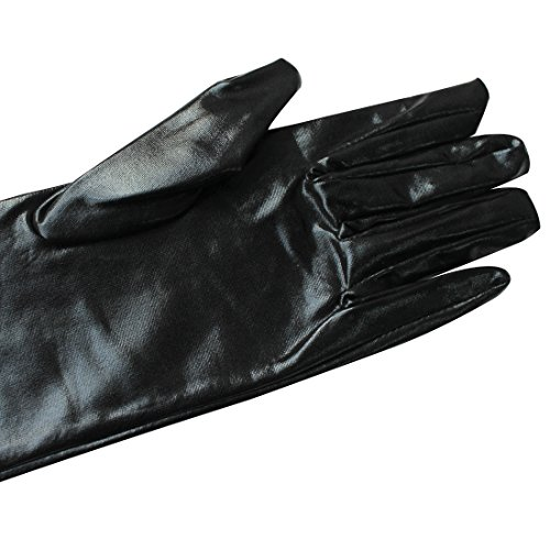 Tiaobug Gothic Lange Leder-Optik Handschuhe Wetlook In Schwarz Damen Metallic Handschuhe - 4