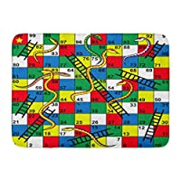 """ECNM56B Doormats Bath Rugs Door Mat Colorful Kid Snakes and Ladders Board Game Start Finish Puzzle Number 15.8""""x23.6"""""""