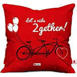 Indigifts Micro Satin and Fibre Let Us Ride Together Artistic Cycle Print Cushion Cover with Filler, 12x12-inches (Red)