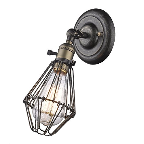 CLAXY E27 Wandlampe Vintage Innen Haus Deko Korb Draht Käfig Wandleuchte mit Schalter (ohne Bulb) (Antik-draht-körbe)