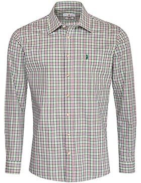 Almsach Trachtenhemd Ferdi Regular Fit Mehrfarbig in Dunkelgrün, Rot und Hellgrün Inklusive Volksfestfinder