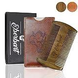 Eberbart Bartkamm inkl. Kunstleder Etui + Gratis-eBook – Antistatischer Echtholzkamm für einen natürlich gepflegten Bart (Sandelholz)