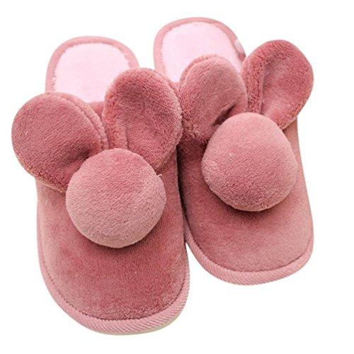 Per Donna,Amlaiworld Coniglio in cotone antiscivolo inverno pantofole Vino rosso