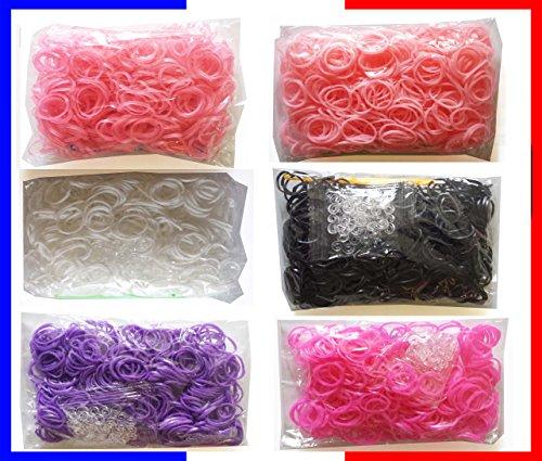 3600 Loom Bands , Elastiques pour bracelets et personnages figurines , lot de 6 sachets différents : Rose pâle, Rose Phosphorescent, Rose Fuchsia, Noir, Blanc, Viol