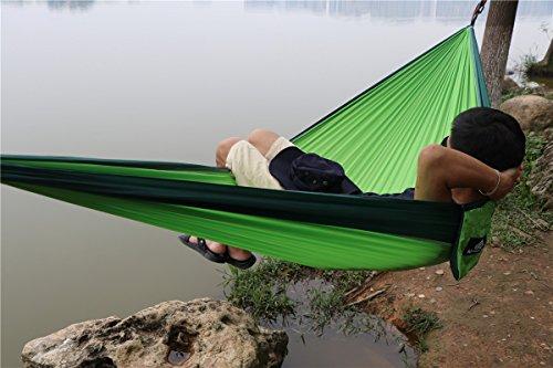 NatureFun Ultraleichte Camping Hängematte / 300kg Tragfähigkeit, (300 x 140 cm) Atmungsaktiv, schnell trocknende Fallschirm Nylon - 9