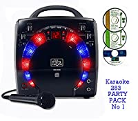 Portable Karaoke Machine & CD Player - PARTY PACK 1 (1 Mic + 3 karaoke CD's) Home Disco Party Light - Boys / Girls wired karaoke microphone + 56 Karaoke SONGS (3 CD ' S) CDG + Format (Connect to a TV to display lyrics from CD) - Echo - Auto Voice Control